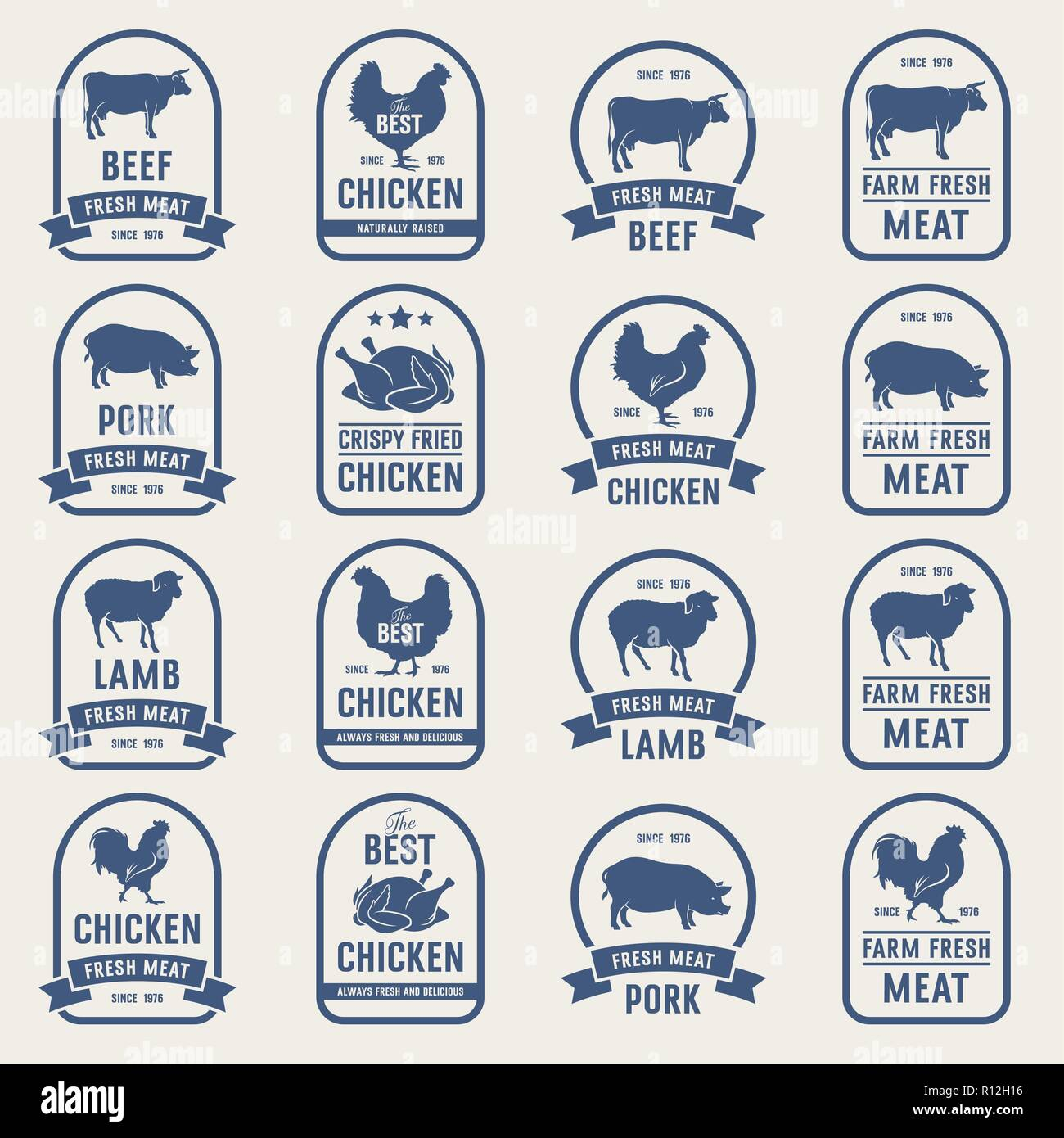 Big set of meat labels, fresh meat stamps. Ideas for butcher shop and Farm Market - Stock Vector