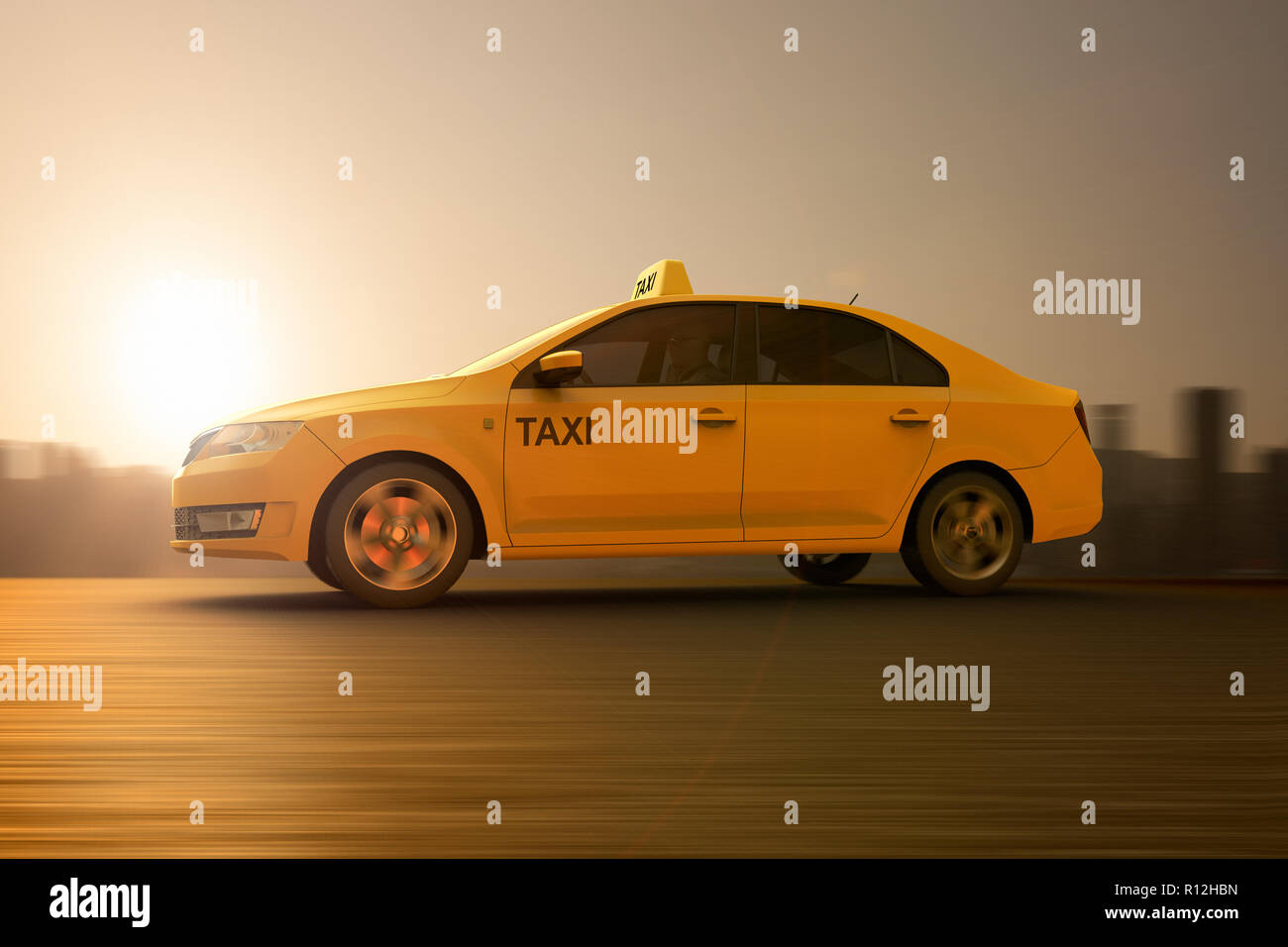 3D rendering of a tellow taxi on motion - Stock Image