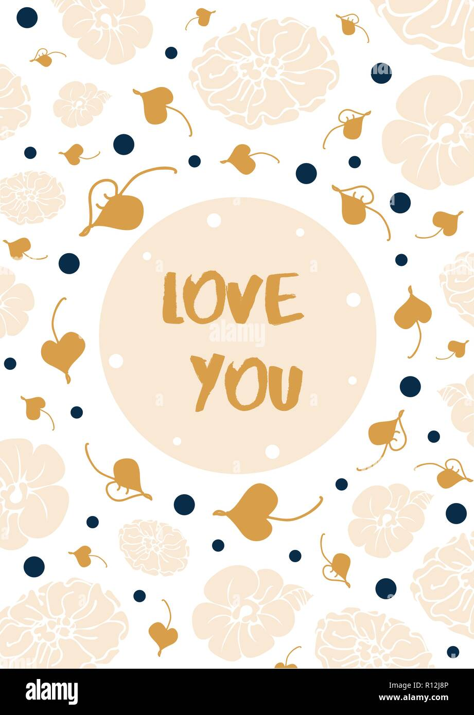 Vintage floral card with text 'Love you'. Gentle white and beige with blue and golden. Vector. For web and printing - Stock Vector