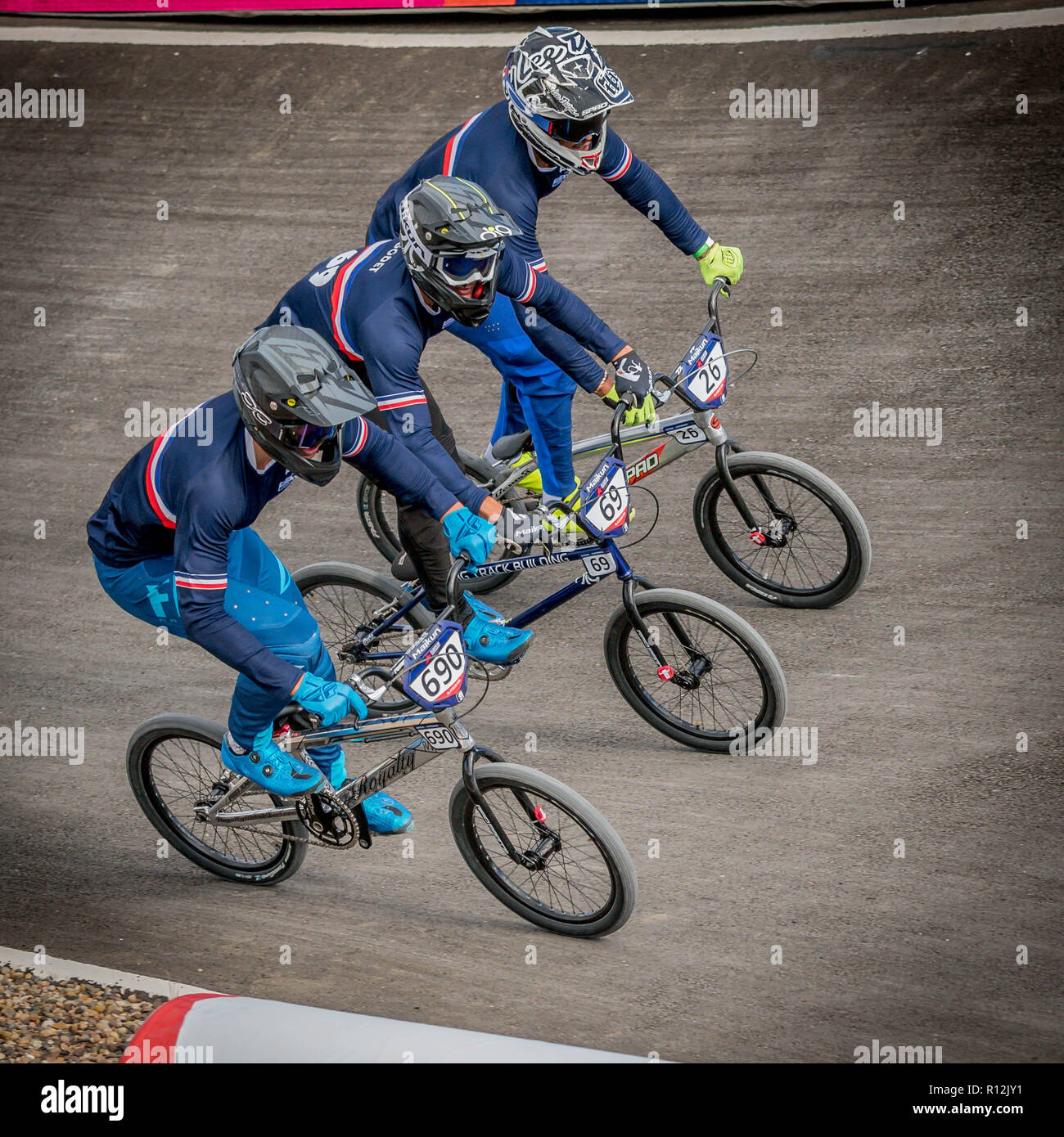 Theo Chapell (690-France), Damien Godet (69-France), Simba Darnand (26-France).  Glasgow2018 European Championships - BMX Racing - Stock Image