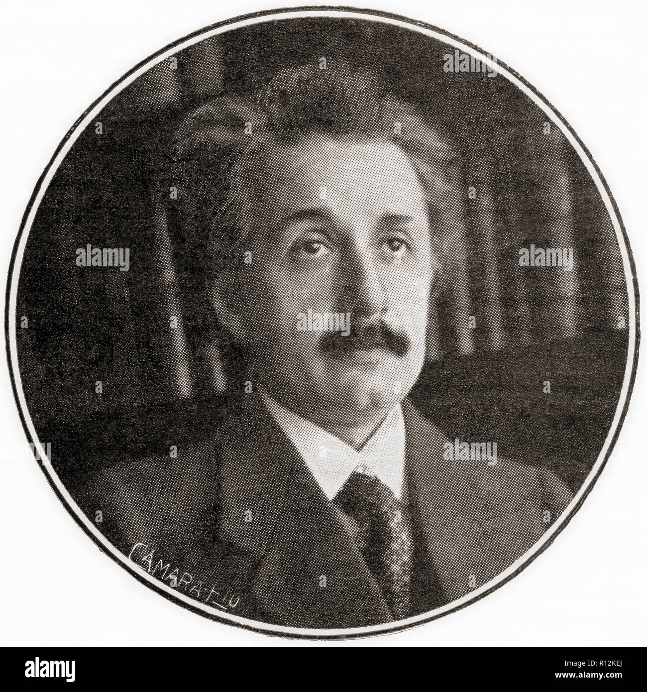 Albert Einstein, 1879 – 1955. German-born theoretical physicist, winner of the 1921 Nobel Prize in Physics.  From La Esfera, published 1921. Stock Photo