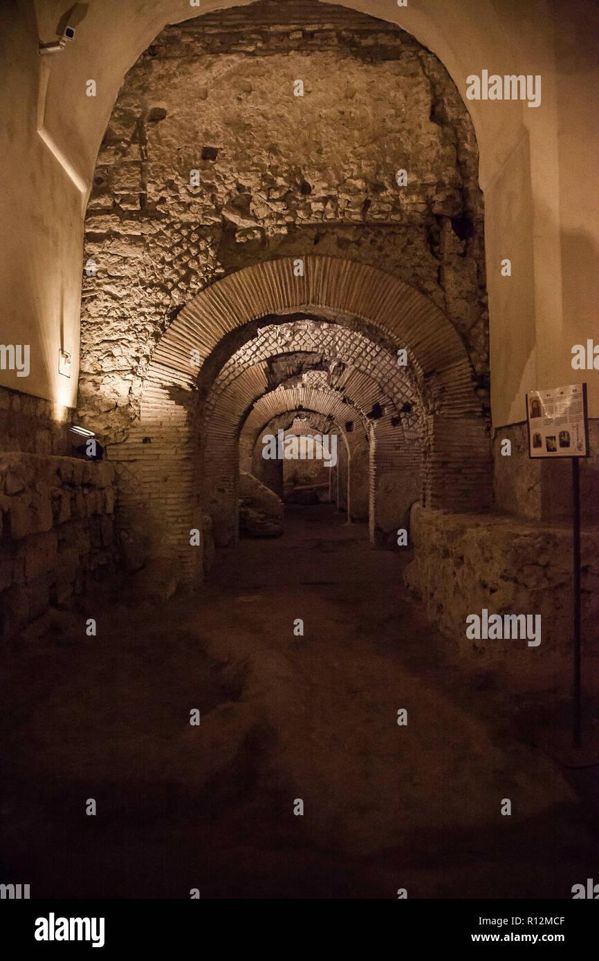 Underground ruin of an ancient Roman market, monumental complex of San Lorenzo - Naples, Campania, Italy Stock Photo