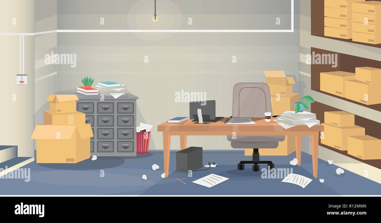 Illustration of a bad example of a workplace surrounding by boxes and mess. Layered vector graphic for your design project. - Stock Image