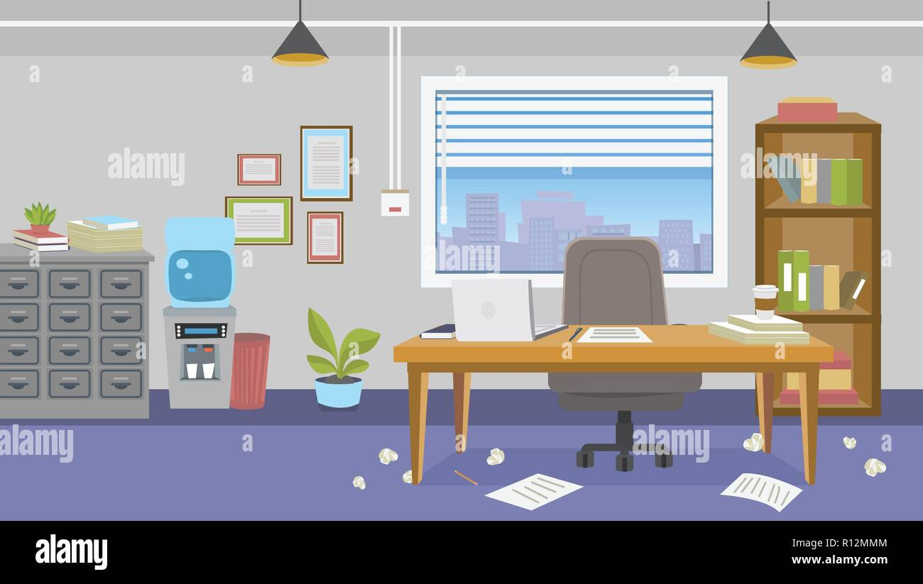 Illustration Of Office Interior With Furniture With Mess Around The