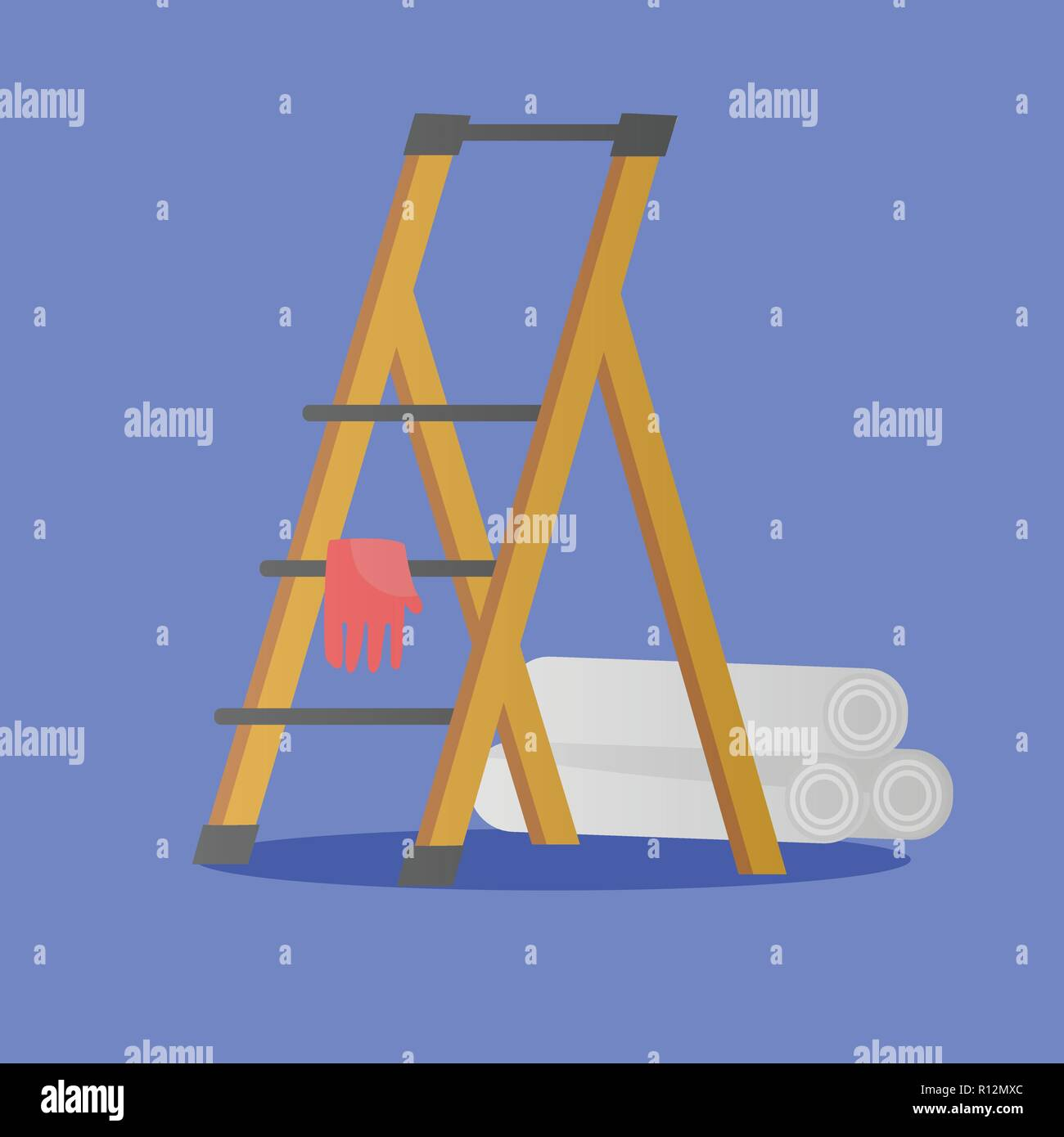 Illustration of platform ladder, glove and rolls of wallpaper for repair of premises. House repair work's objects in flat style - Stock Vector