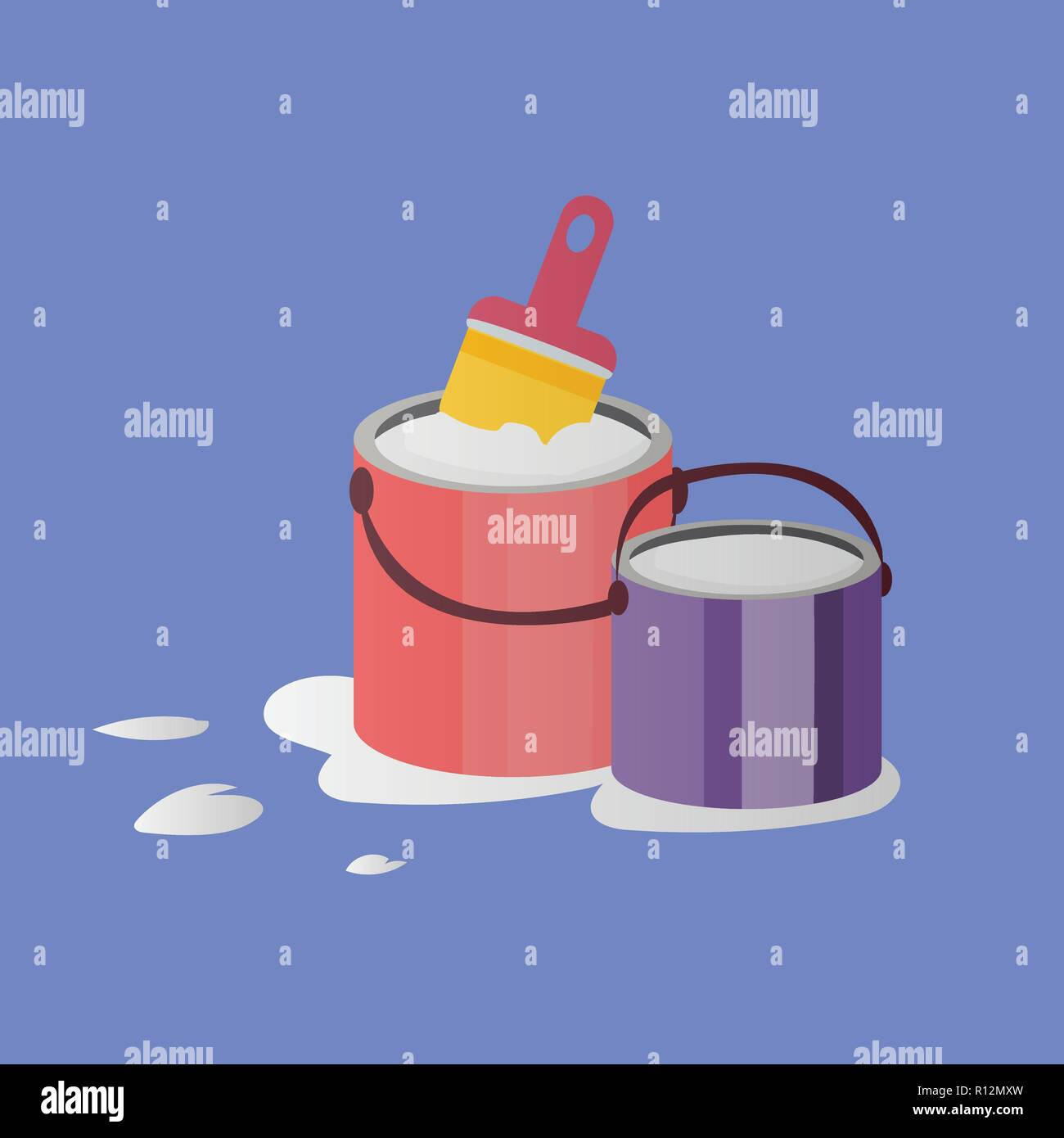 Illustration of paintbrush and two opened paint buckets with handles. Vector objects in flat style - Stock Vector