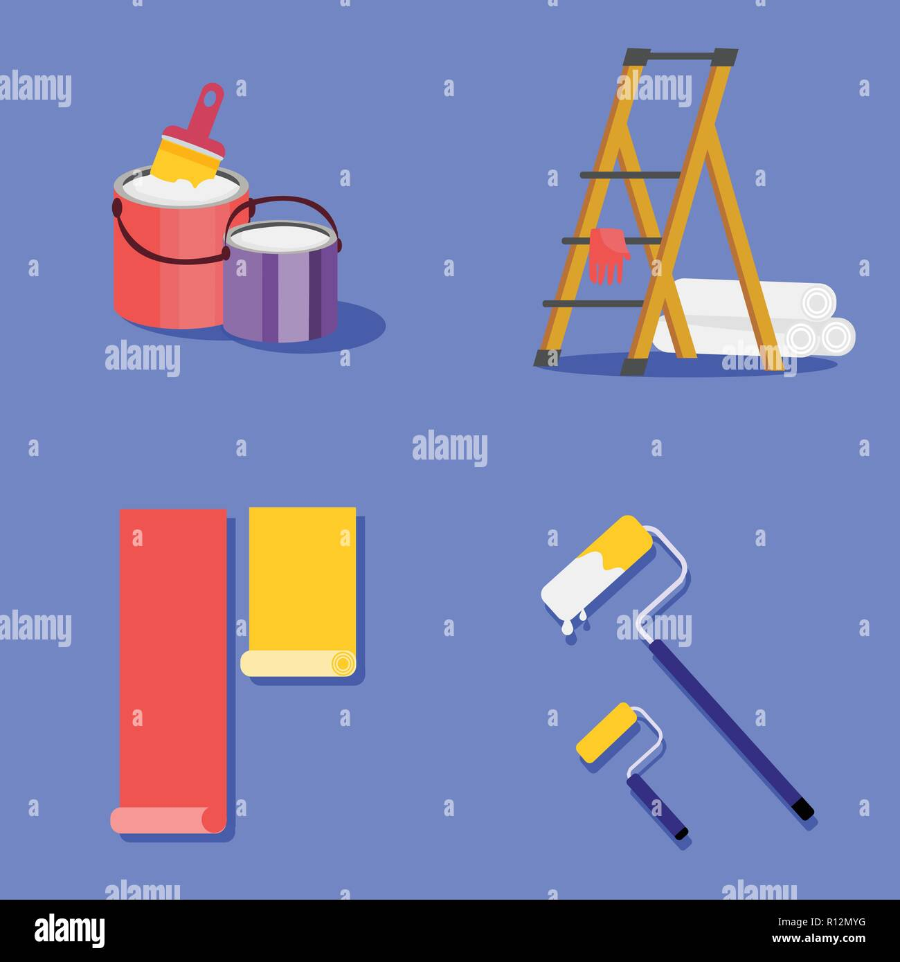 Stock vector illustration set painting and wall upkeep tools. Isolated illustrations of two paint buckets with paintbrush, platform ladder, gloves and - Stock Vector