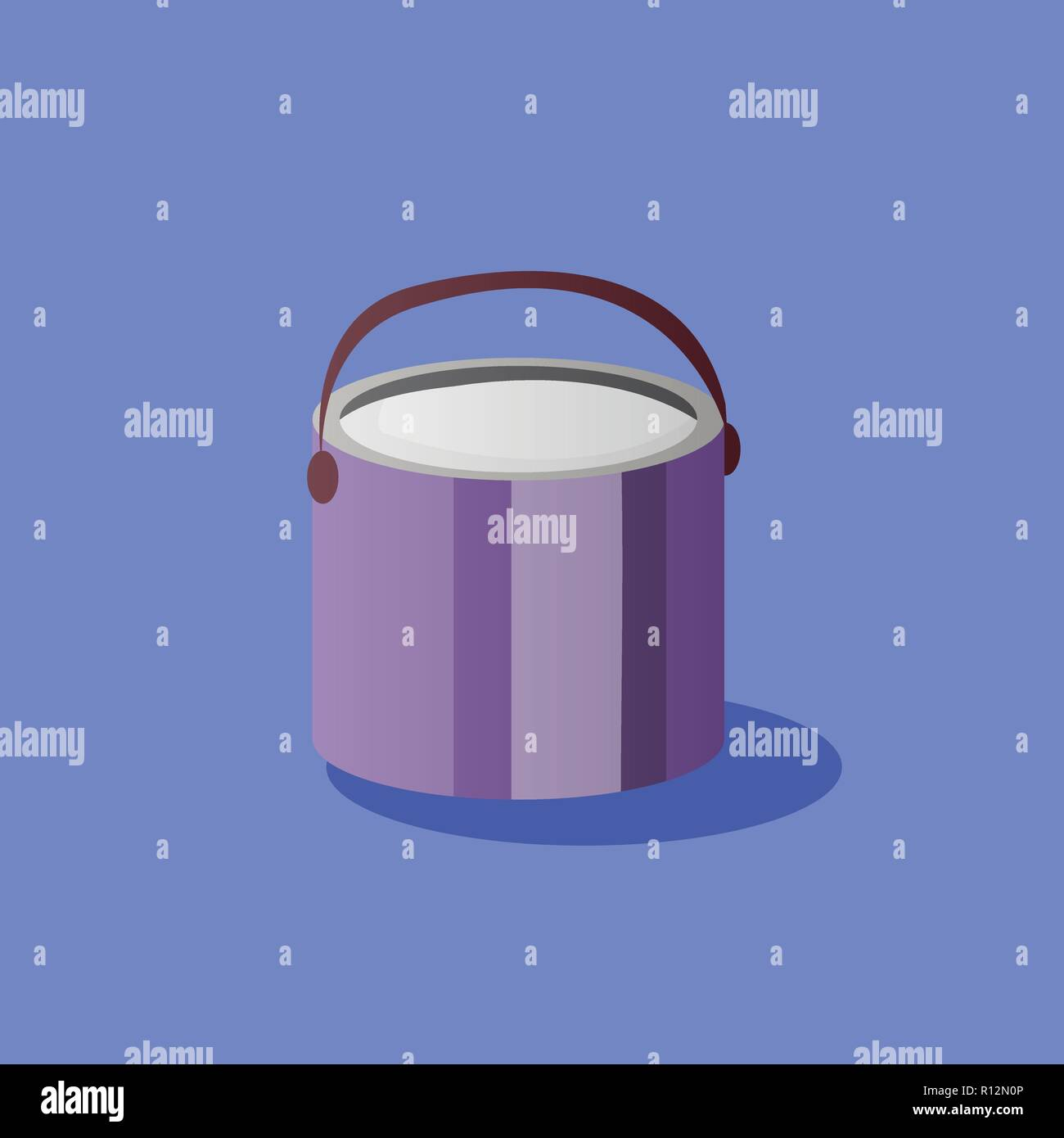 Illustration of opened  paint bucket with handle. Vector object in flat style - Stock Vector