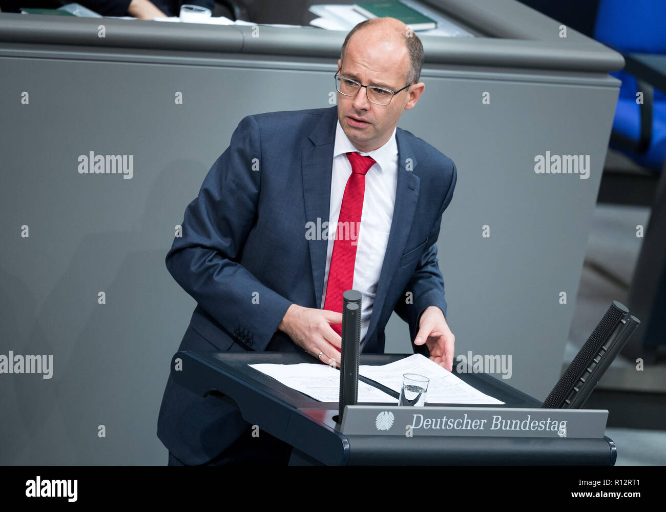 Berlin, Germany. 08th Nov, 2018. Michael Brand (CDU) speaks during the plenary session in the German Bundestag. Topics of the 61st session of the 19th legislative period include the pension package introduced by the Federal Government, additional safe countries of origin, tax relief for families, changes in asylum law, accelerated traffic planning and a current hour on the INF (Intermediate Range Nuclear Forces) nuclear disarmament treaty. Credit: Bernd von Jutrczenka/dpa/Alamy Live News - Stock Image