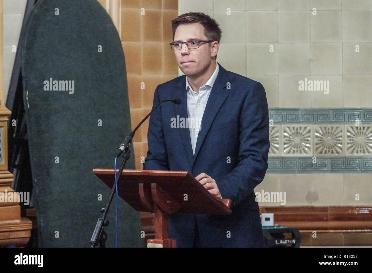 London, UK. 08 November 2018. London, England. Rob Blackie at Lib Dems hold GLA 2020 hustings in the David Lloyd George Room at the National Liberal Club. Reetendra Nath Banerji, Rob Blackie, Caroline Pidgeon, Charley Hasted, Irina Von Wiese, Chris Maines, Hina Bokhari and Joyce Onstad all addressed Liberal Democrat Party members with an view to selection as candidates for the Greater London Assembly election of 2020. © Peter Hogan/Alamy Live News - Stock Image