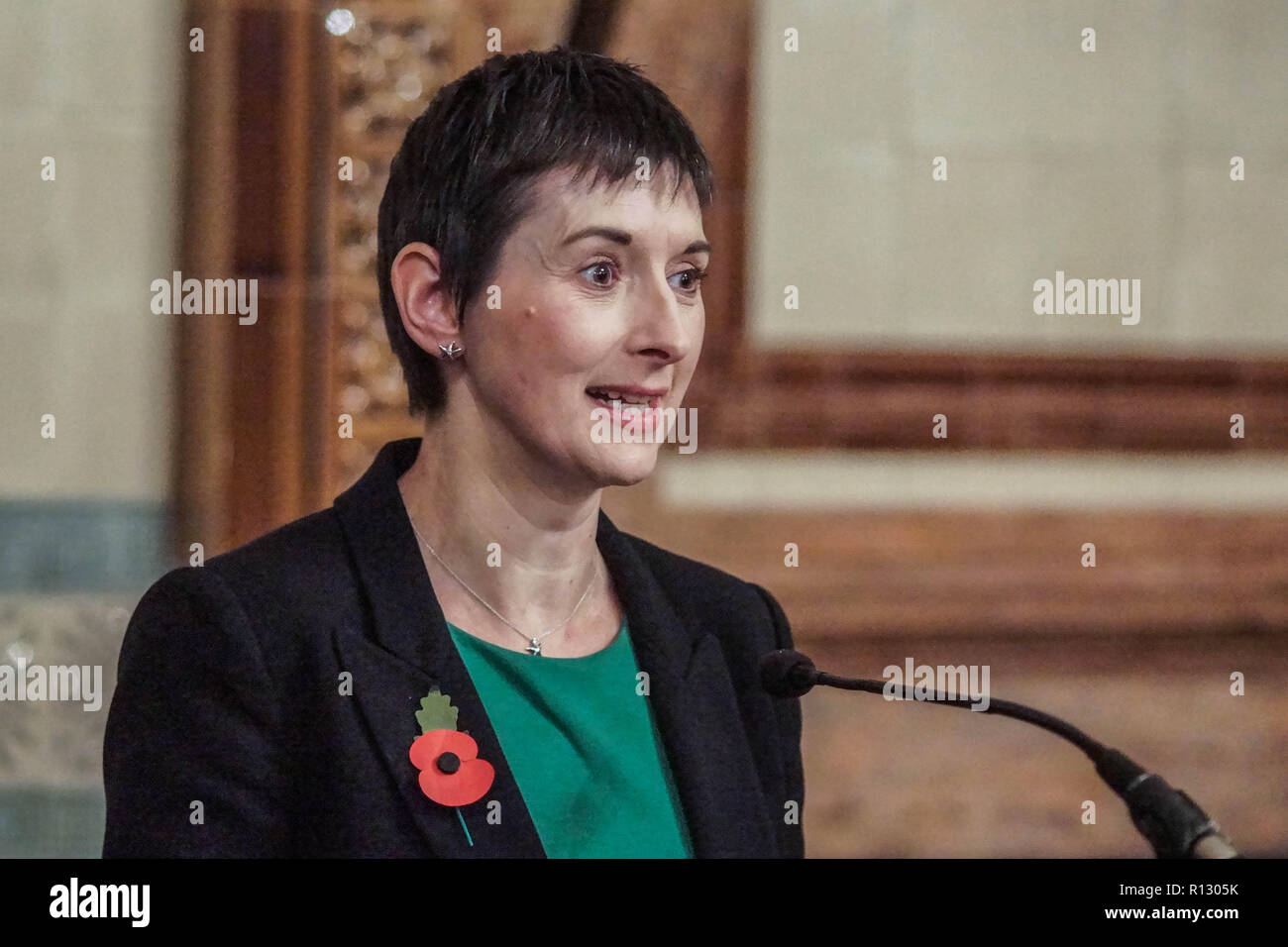 London, UK. 08 November 2018. London, England. Caroline Pidgeon at Lib Dems hold GLA 2020 hustings in the David Lloyd George Room at the National Liberal Club. Reetendra Nath Banerji, Rob Blackie, Caroline Pidgeon, Charley Hasted, Irina Von Wiese, Chris Maines, Hina Bokhari and Joyce Onstad all addressed Liberal Democrat Party members with an view to selection as candidates for the Greater London Assembly election of 2020. © Peter Hogan/Alamy Live News - Stock Image