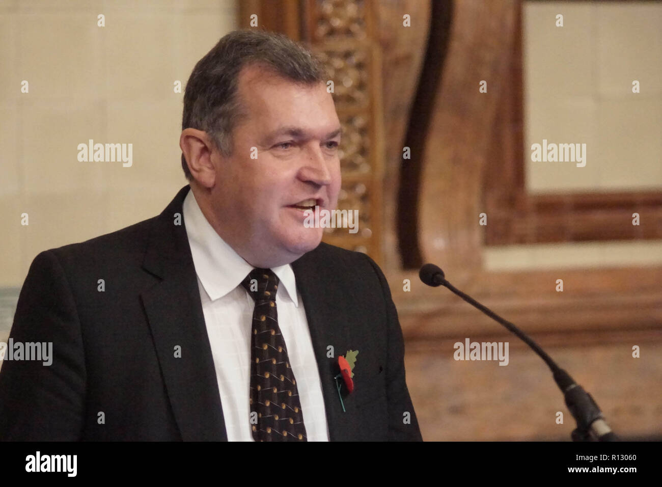 London, UK. 08 November 2018. London, England. Chris Maines at Lib Dems hold GLA 2020 hustings in the David Lloyd George Room at the National Liberal Club. Reetendra Nath Banerji, Rob Blackie, Caroline Pidgeon, Charley Hasted, Irina Von Wiese, Chris Maines, Hina Bokhari and Joyce Onstad all addressed Liberal Democrat Party members with an view to selection as candidates for the Greater London Assembly election of 2020. © Peter Hogan/Alamy Live News - Stock Image