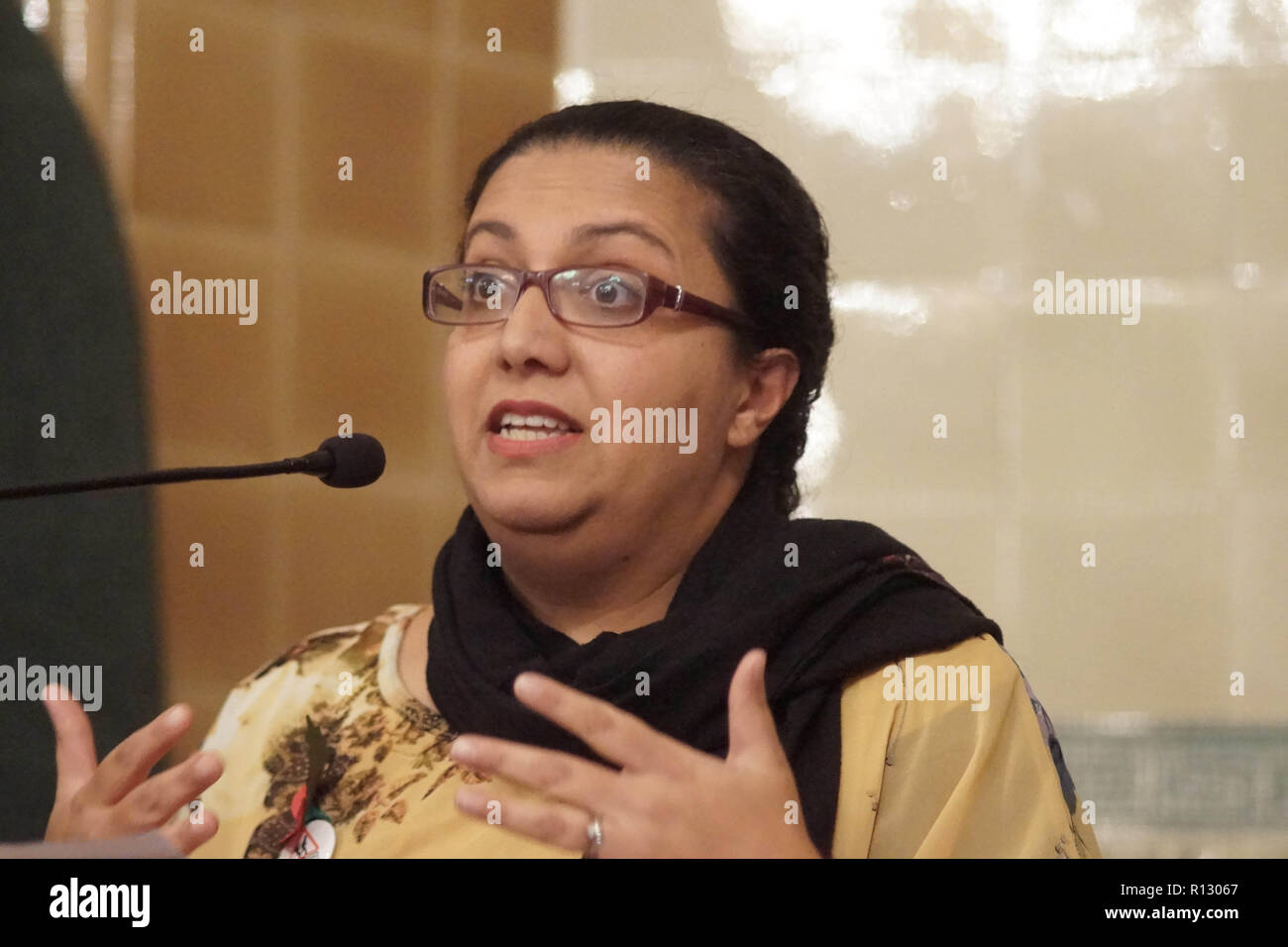 London, UK. 08 November 2018. London, England. Hina Bokhari at Lib Dems hold GLA 2020 hustings in the David Lloyd George Room at the National Liberal Club. Reetendra Nath Banerji, Rob Blackie, Caroline Pidgeon, Charley Hasted, Irina Von Wiese, Chris Maines, Hina Bokhari and Joyce Onstad all addressed Liberal Democrat Party members with an view to selection as candidates for the Greater London Assembly election of 2020. © Peter Hogan/Alamy Live News - Stock Image