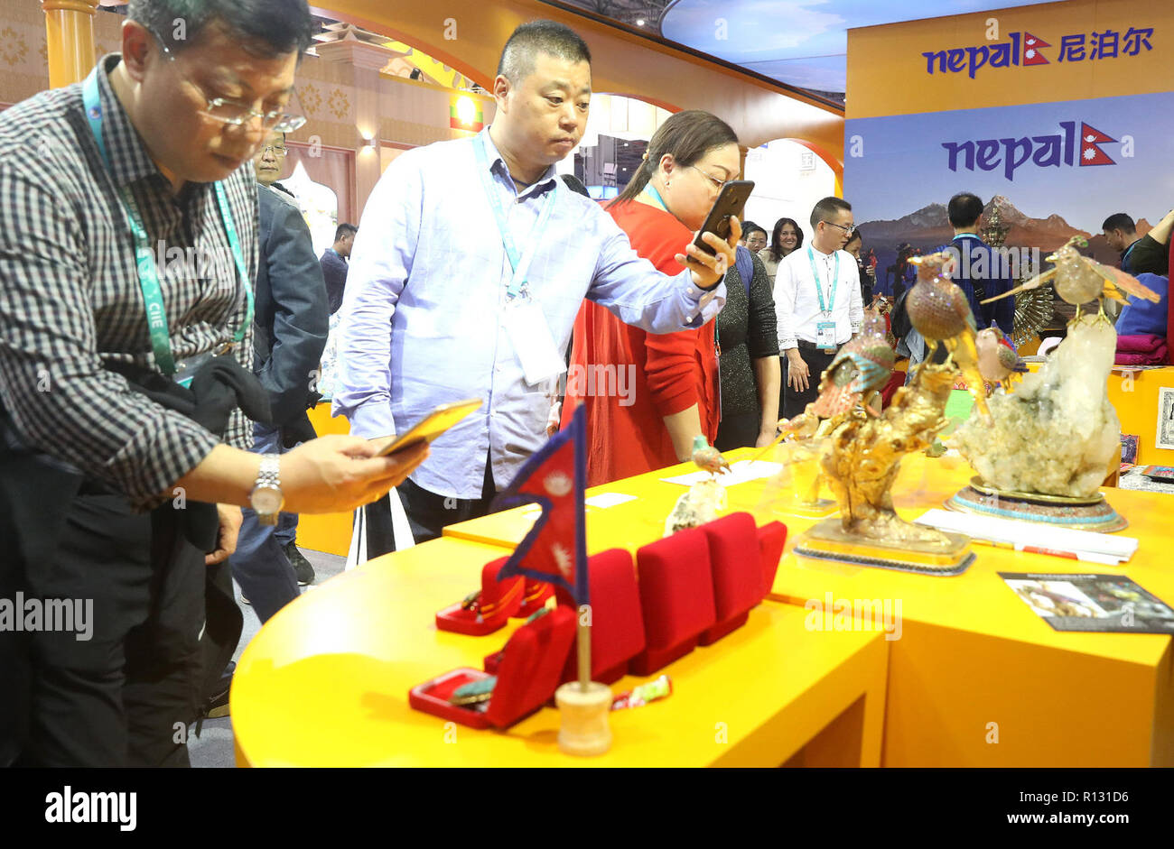 Shanghai, China  7th Nov, 2018  People visit the booth of Nepal at