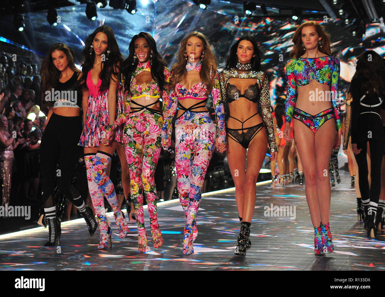 New York, NY, USA. 08th Nov, 2018. Winnie Harlow, Gigi Hadid and Kendall Jenner at the 2018 Victoria's Secret Fashion Show at Pier 94 on November 8, 2018 in New York City. Credit: John Palmer/Media Punch/Alamy Live News - Stock Image