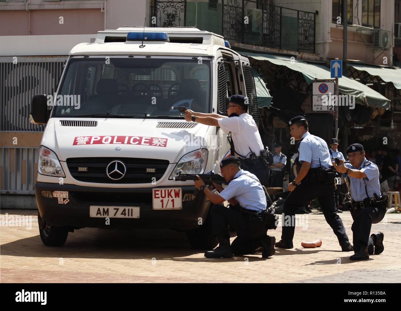 Hong Kong, CHINA  9th Nov, 2018  Hong Kong Policemen assume