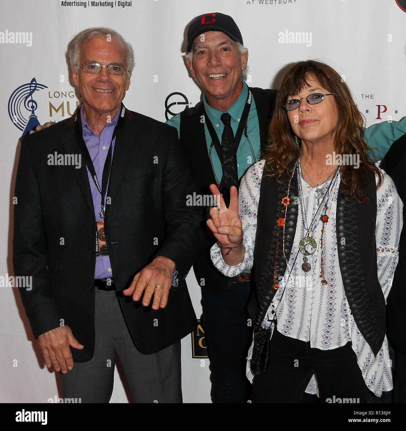 Westbury, New York, USA. 8th Nov 2018. (L-R) Paul Cowsill, Bob Cowsill and Susan Cowsill of the Cowsills attend the 2018 Long Island Music Hall of Fame induction ceremony at The Space at Westbury on November 8, 2018 in Westbury, New York. Credit: AKPhoto/Alamy Live News Stock Photo