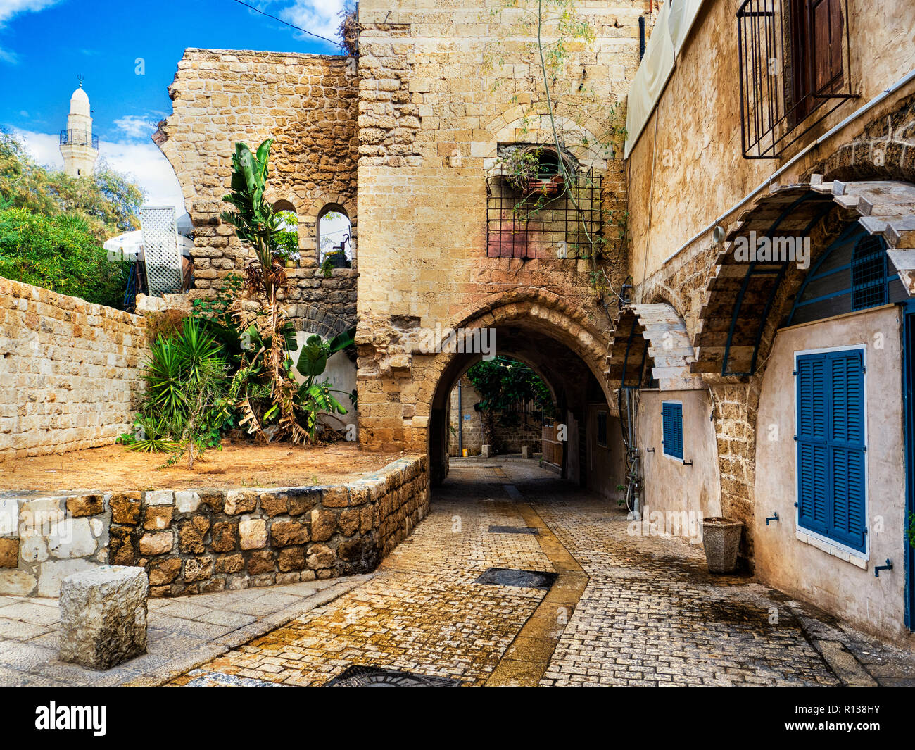 Arched Pathway in Old Jaffa Fort in Tel Aviv, Israel - Stock Image