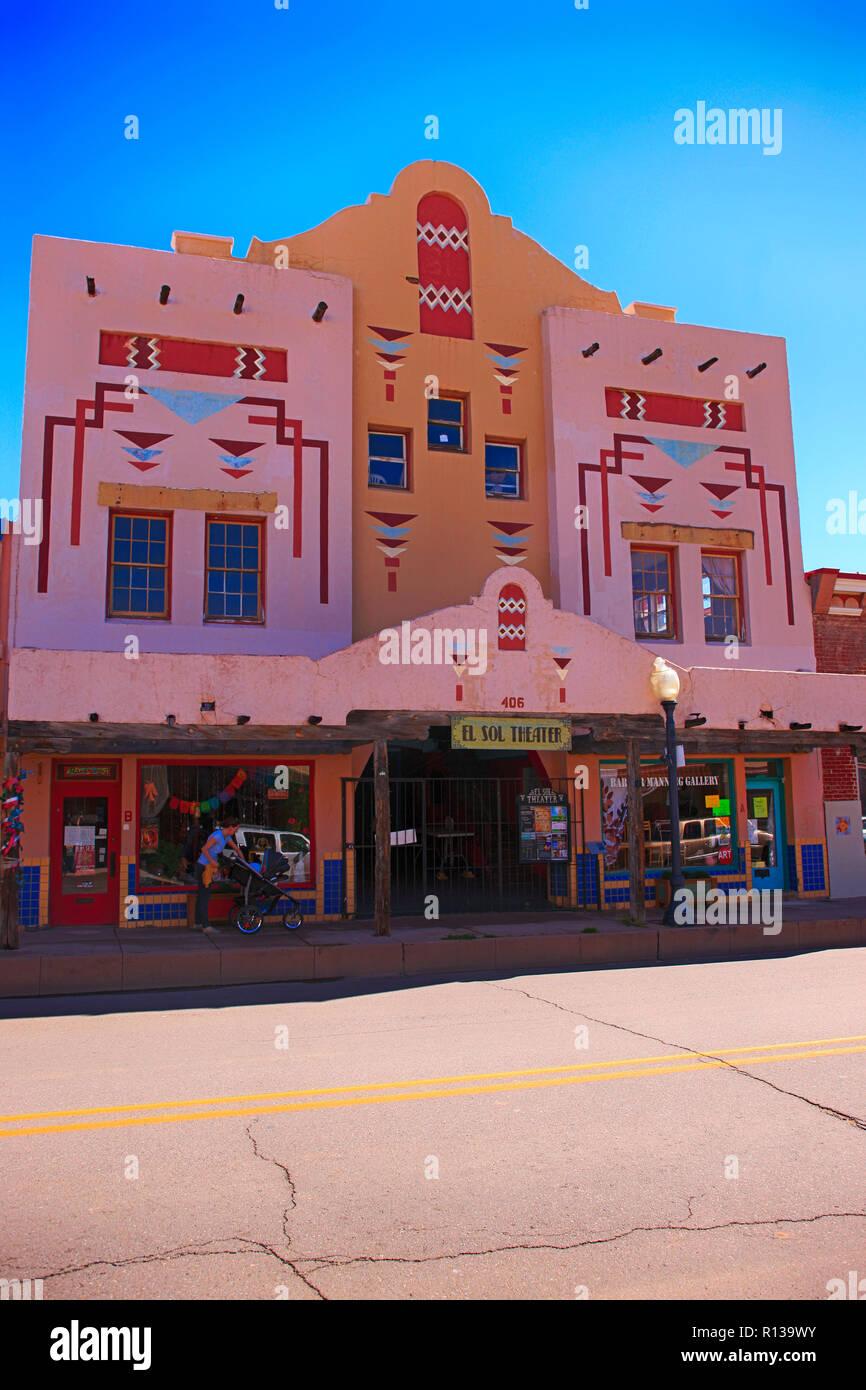 The 1934 El Sol Theater on N Bullard Street in downtown Silver City NM - Stock Image