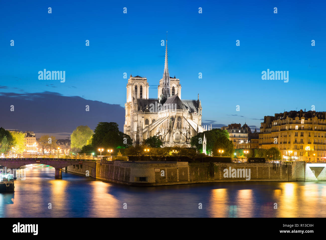 Notre Dame de Paris with cruise ship on Seine river at night in Paris, France - Stock Image