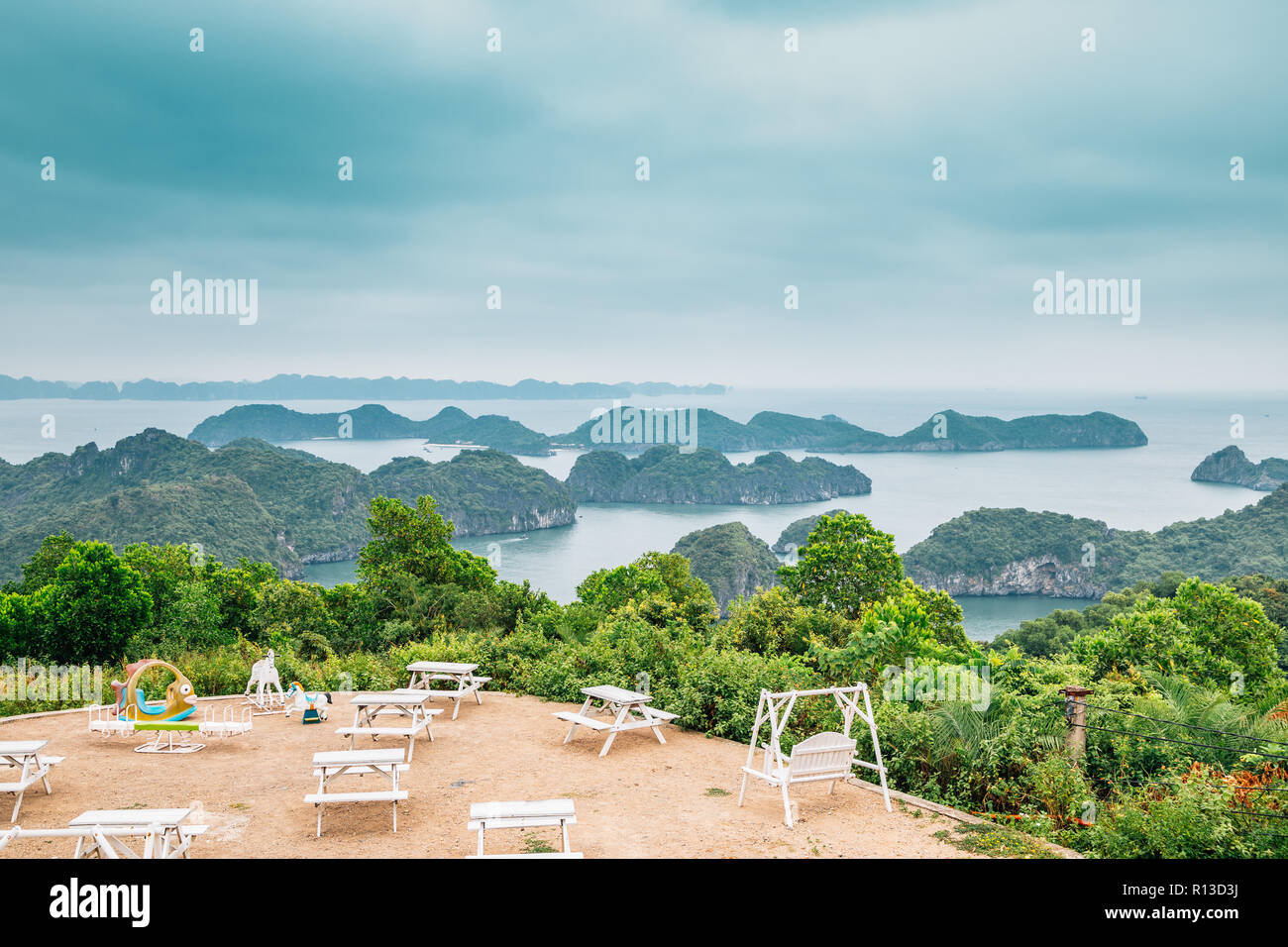 Island and sea from Cannon Fort in Cat Ba island, Vietnam Stock Photo
