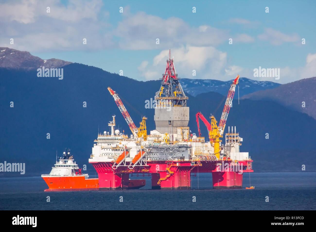 Oil rig near Bergen, Norway. Stock Photo