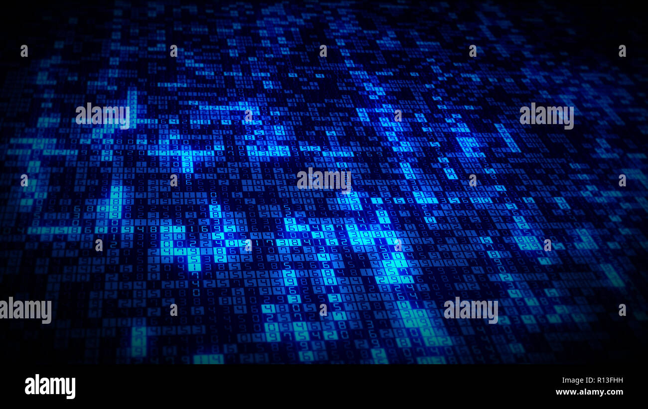 Bright blue glowing computer numbers appear on technology data stream grid - Stock Image
