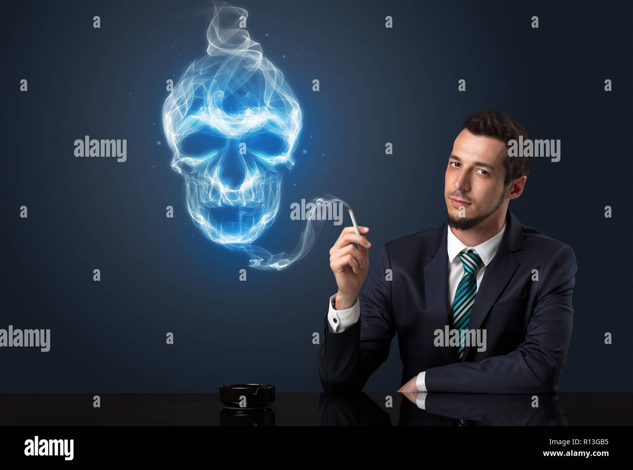 Businessman smoking with skull simbol above his head. - Stock Image