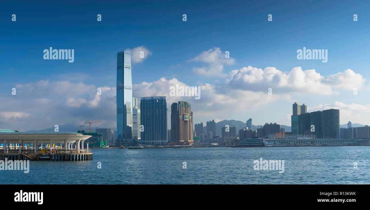 Skyline of Tsim Sha Tsui, Kowloon, Hong Kong - Stock Image