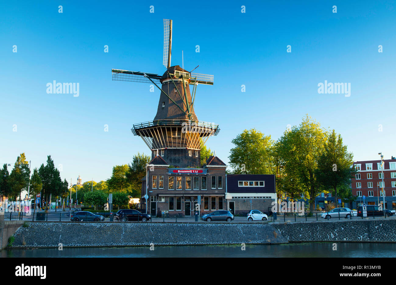 De Gooyer windmil, Amsterdam, Noord Holland, Netherlands - Stock Image