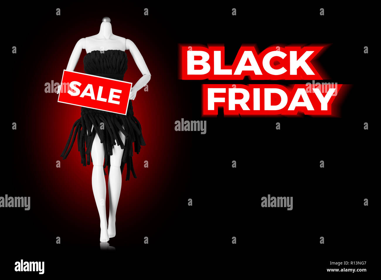 Black Friday Sale Holiday Shopping Concept Mannequin With Sale Sign Stock Photo Alamy