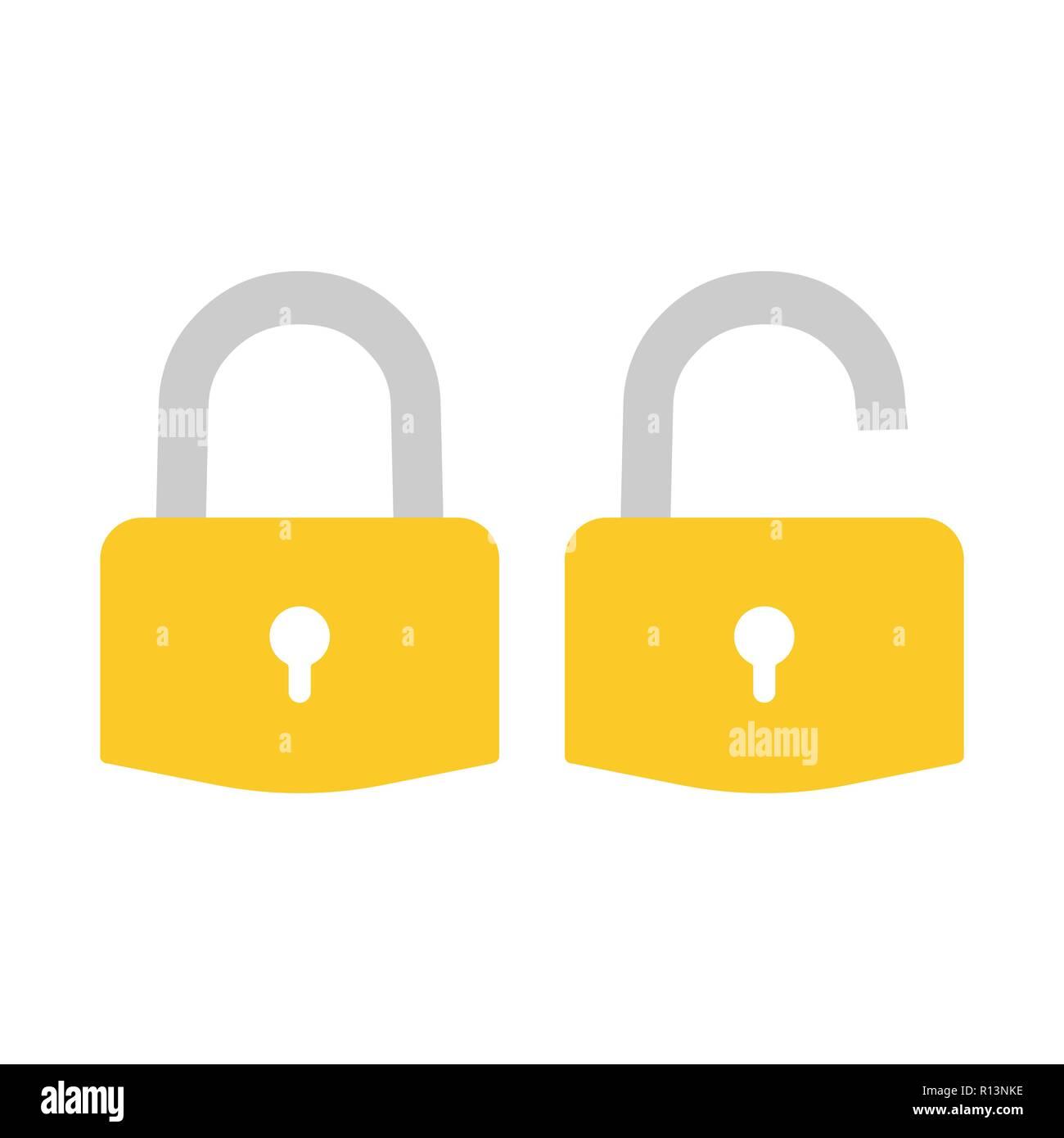 Lock icon. Padlock sign. Unlock. Vector illustration. Flat design. - Stock Vector