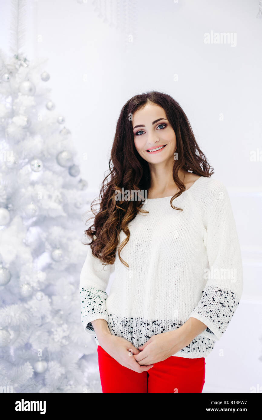 Gorgeous brunette woman posing in decorated studio against Christmas tree. Stock Photo