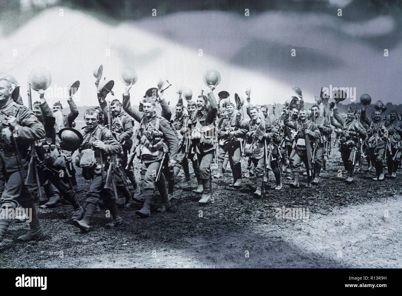Tommies: WWI, First World War British troops marching on the Western Front. The Great War British soldiers marching. 1914 1918 - Stock Image
