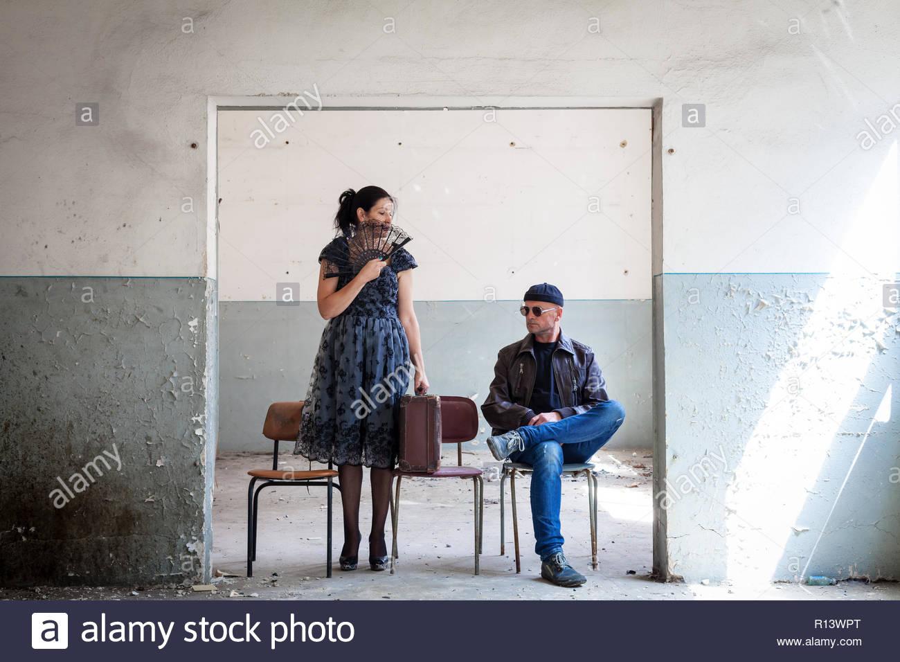 Full length shot of two strangers - Stock Image