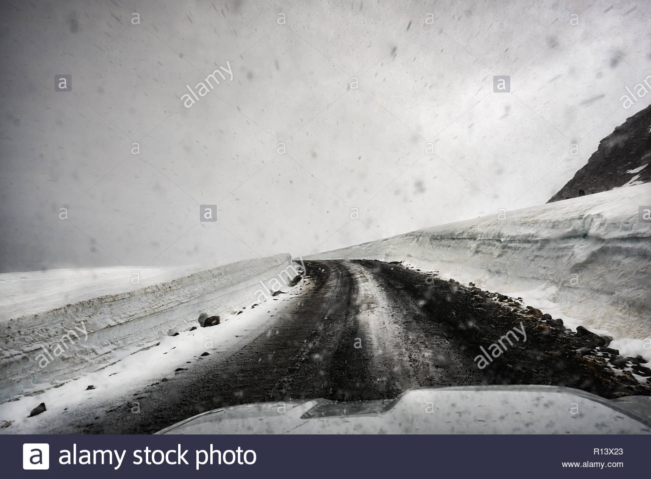 Snowy weather in winter - Stock Image