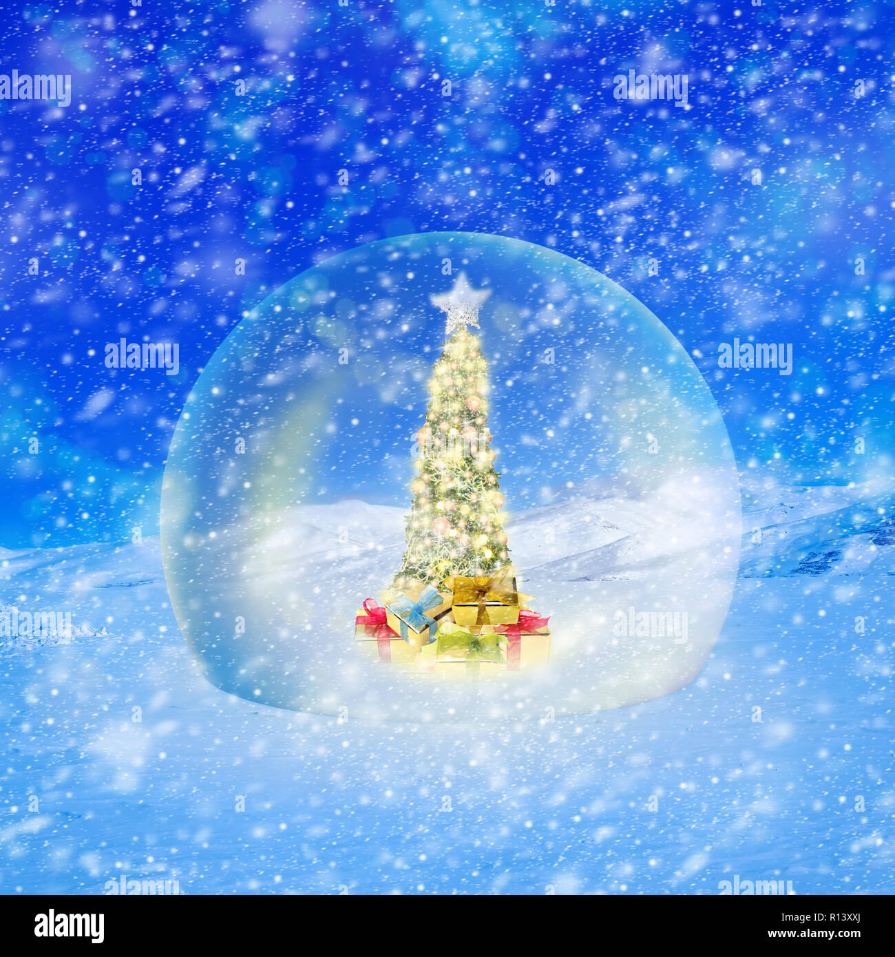 Christmas Tree Lights Snow Outdoor Stock Photos