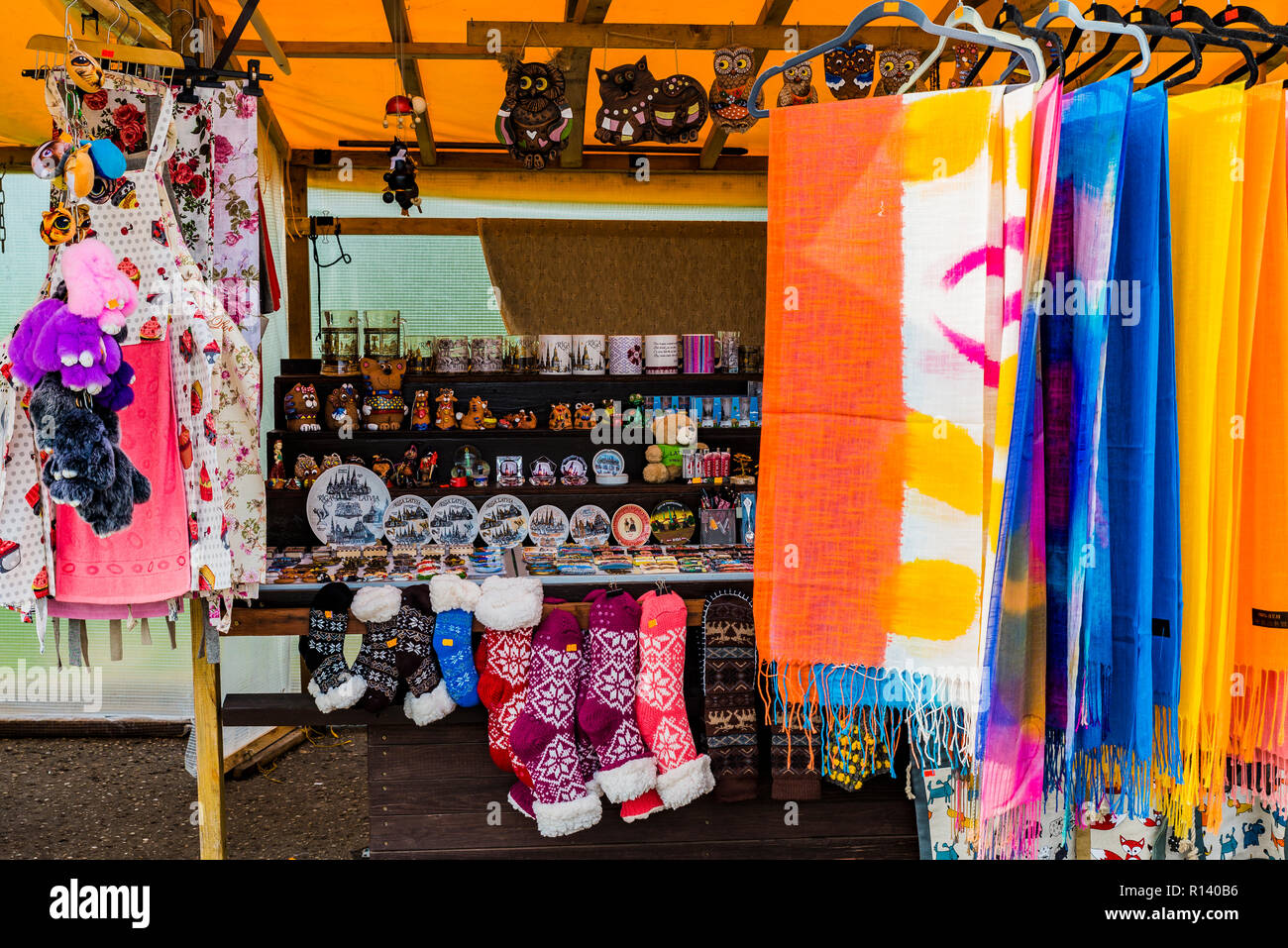Latvian handicraft sale. Turaida Museum Reserve, Sigulda, Latvia, Baltic states, Europe. - Stock Image