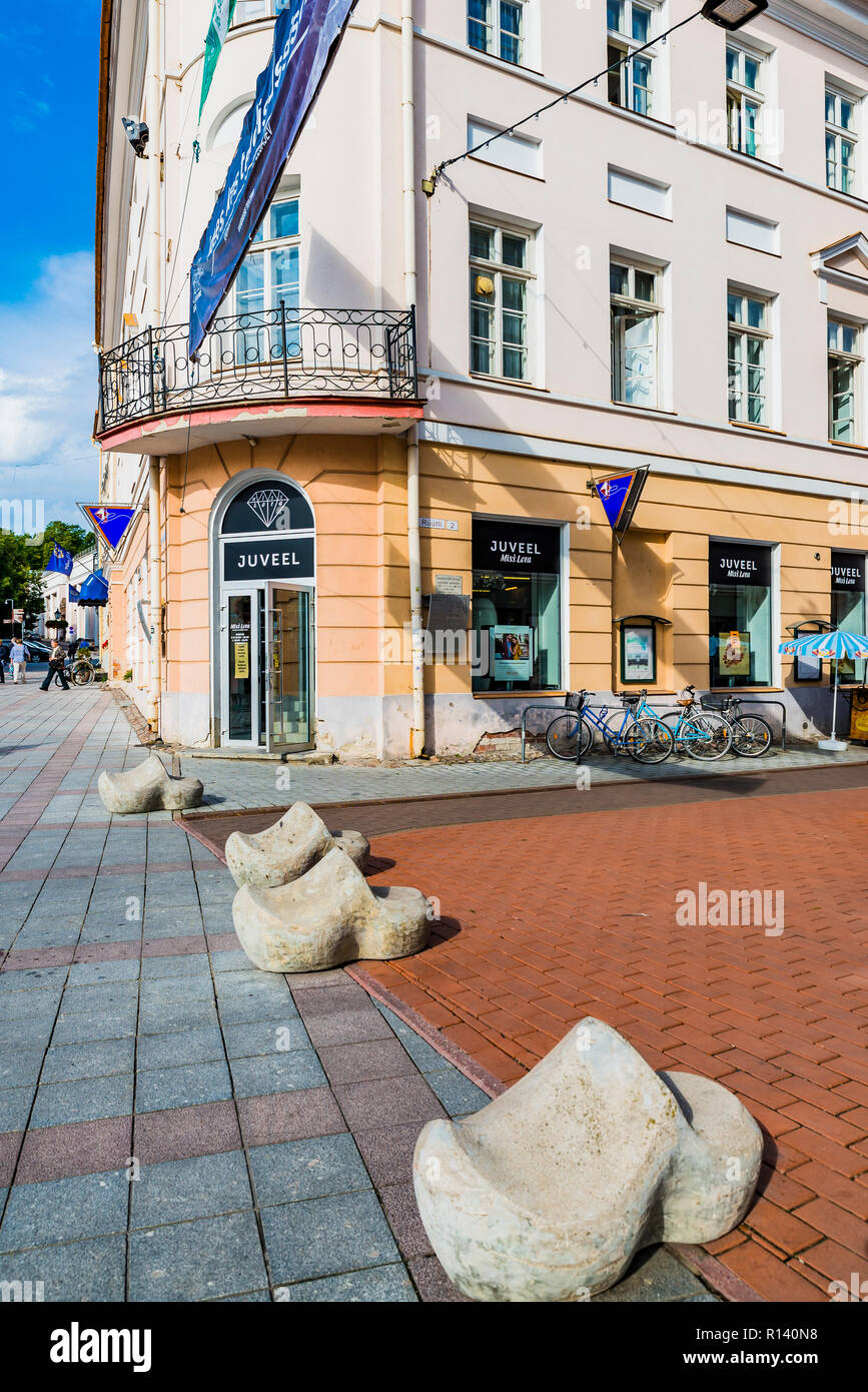 Tartu Street with its bollards. Instead of using boring posts to stop cars, Tartu uses a variety of concrete models to do the job.Tartu, Tartu County, - Stock Image