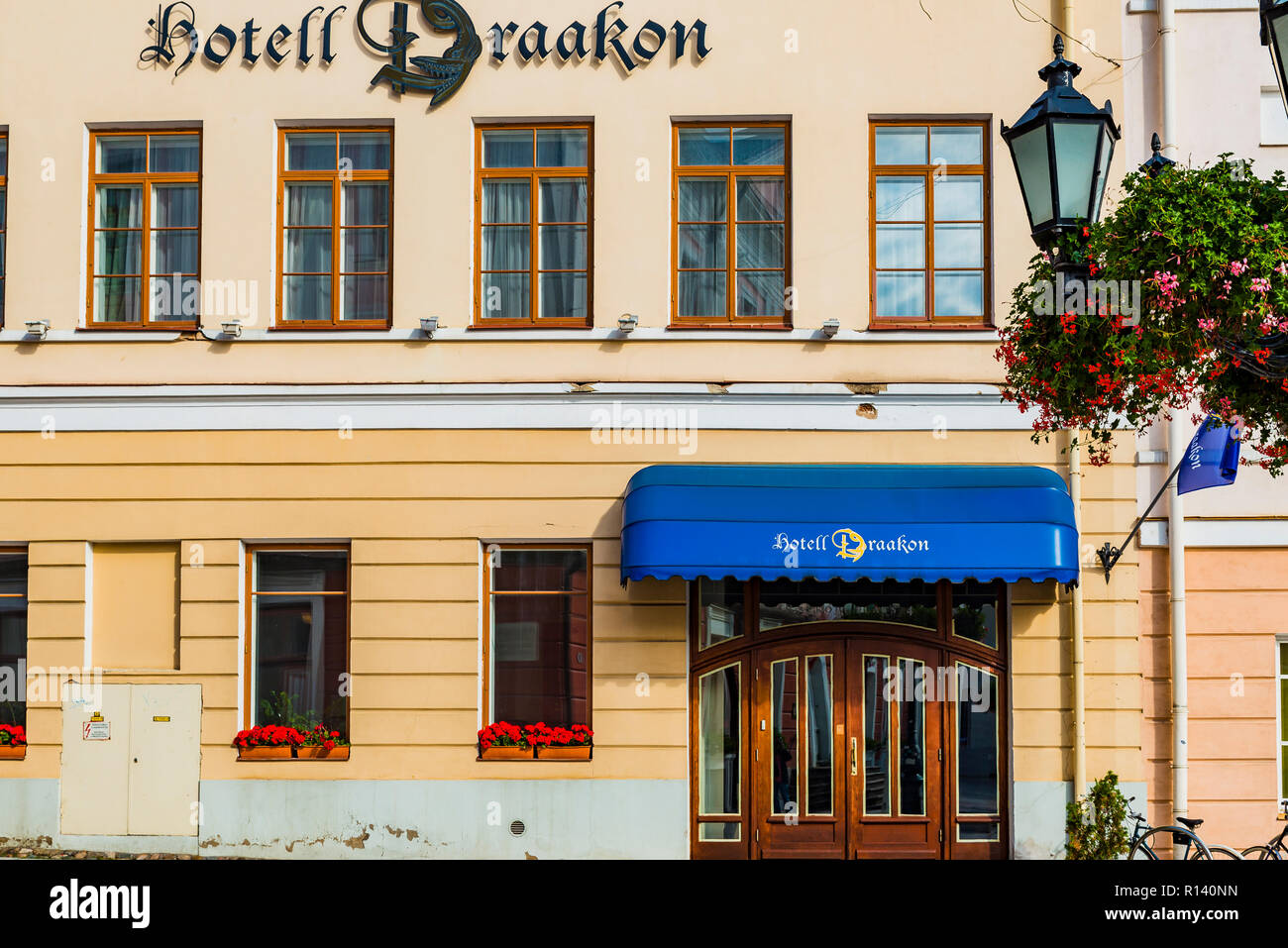 Hotel Draakon. Hotel establishments. Tartu, Tartu County, Estonia, Baltic states, Europe. - Stock Image