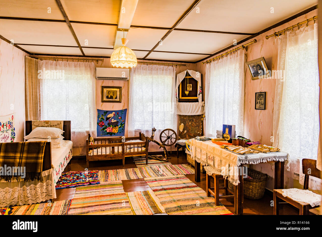 Interior Kolkja Museum of Old Believers. Russians whose ancestors went against reforms in the Russian Orthodox Church 300 years ago and for centuries  - Stock Image