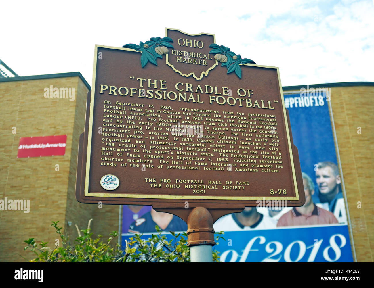 An Ohio historical marker for the Pro Football Hall of Fame in Canton, Ohio, USA marks 'The Cradle of Professional Football' in the USA. - Stock Image