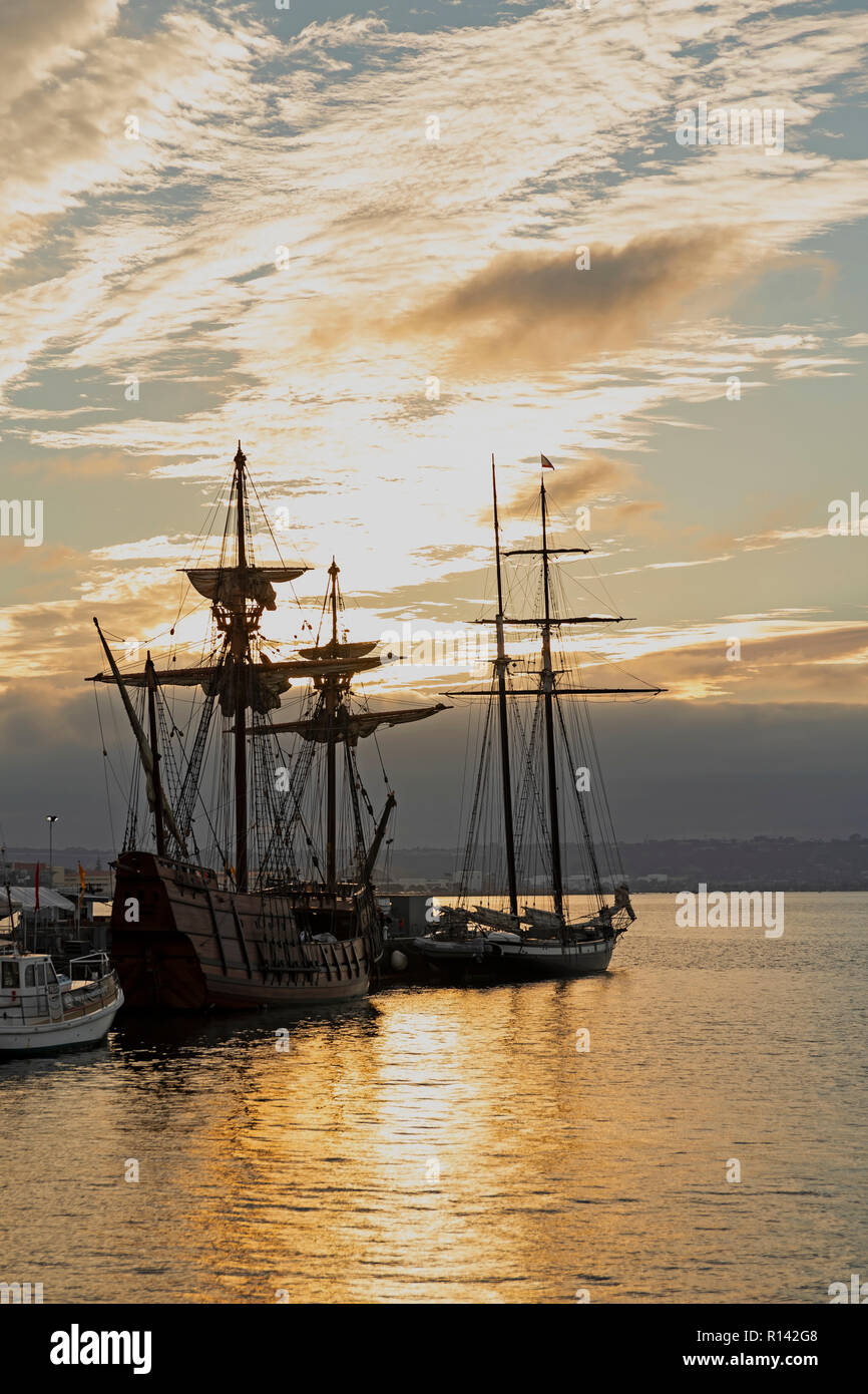 San Diego Waterfront Old Wooden Sailing Ship Stock Photo 224439272