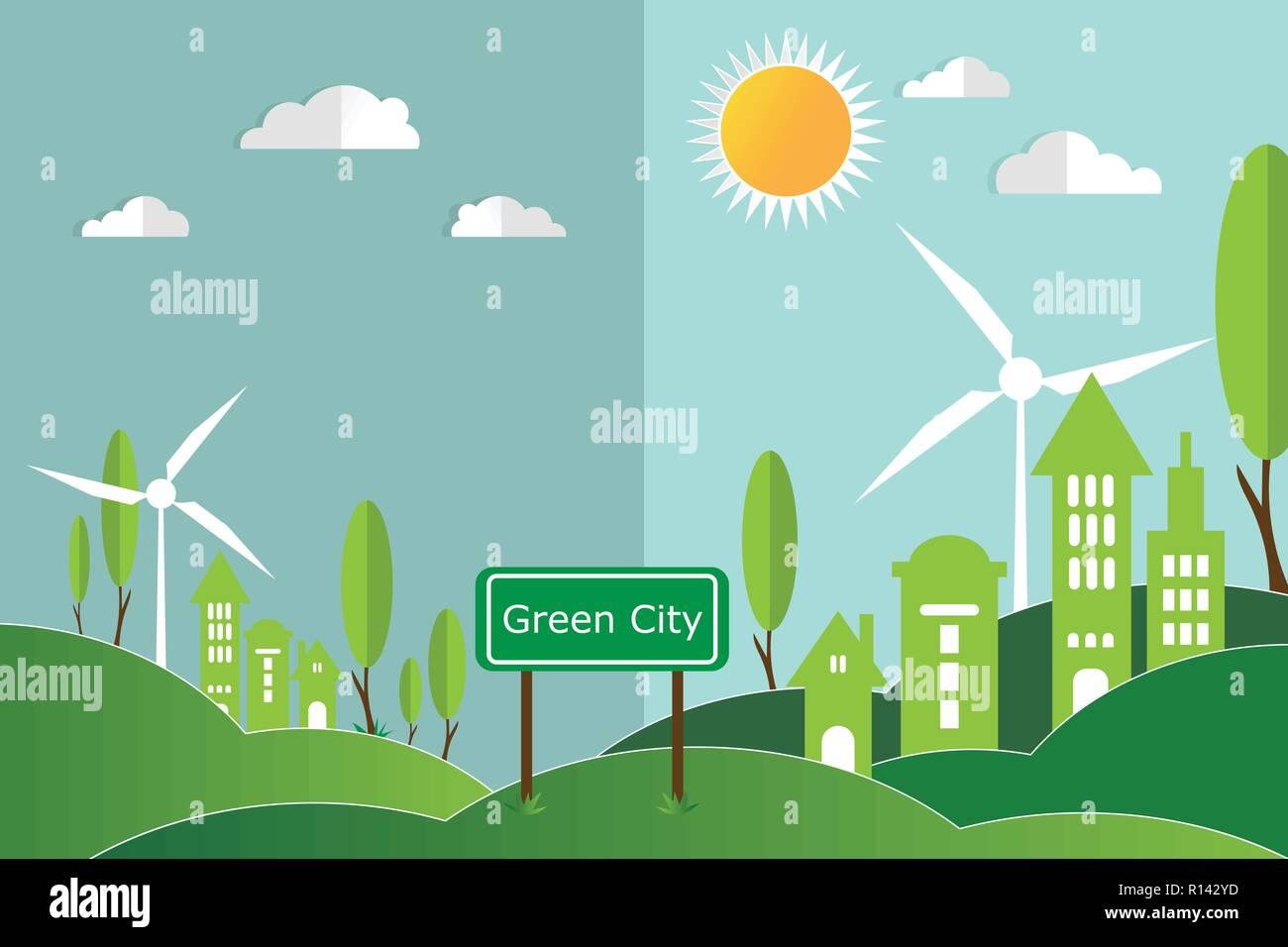 Eco Green City Concept Vector Illustration Stock Vector Art
