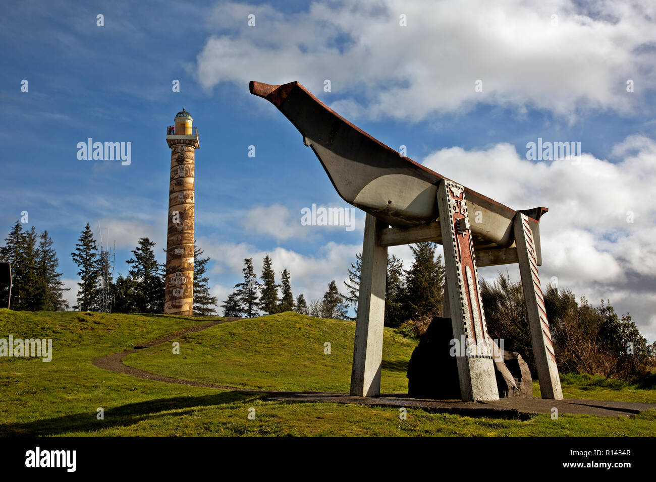 OR02353-00...OREGON - A replica Indian Burial Canoe on a hill near the Astoria Column in the town of Astoria on the Columbia River. - Stock Image