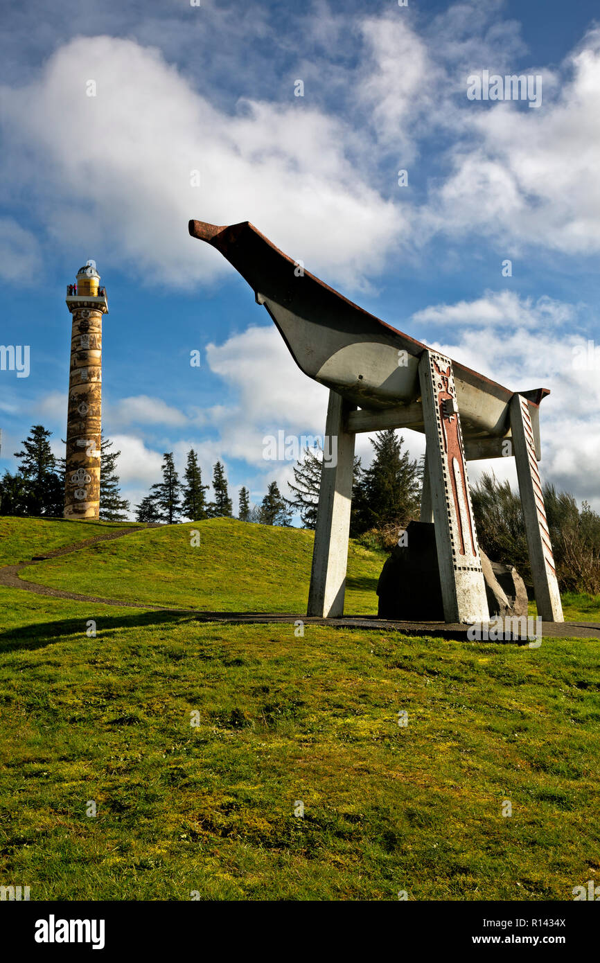 OR02354-00...OREGON - A replica Indian Burial Canoe on a hill near the Astoria Column in the town of Astoria on the Columbia River. - Stock Image