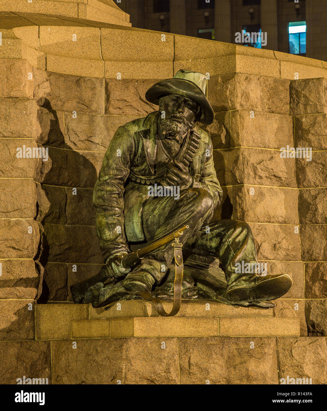 Statue of Boer General at the foot of the Paul Kruger monument on Church Square, Pretoria, South Africa. - Stock Image