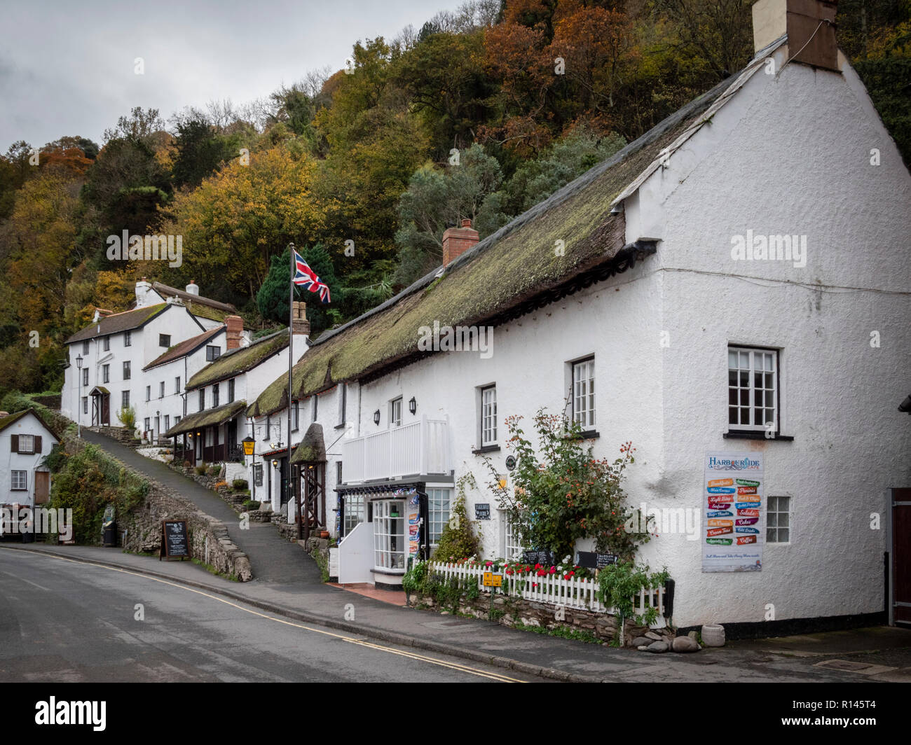 The Rising Sun 14t century pub and Inn at Lynmouth Devon, UK - Stock Image