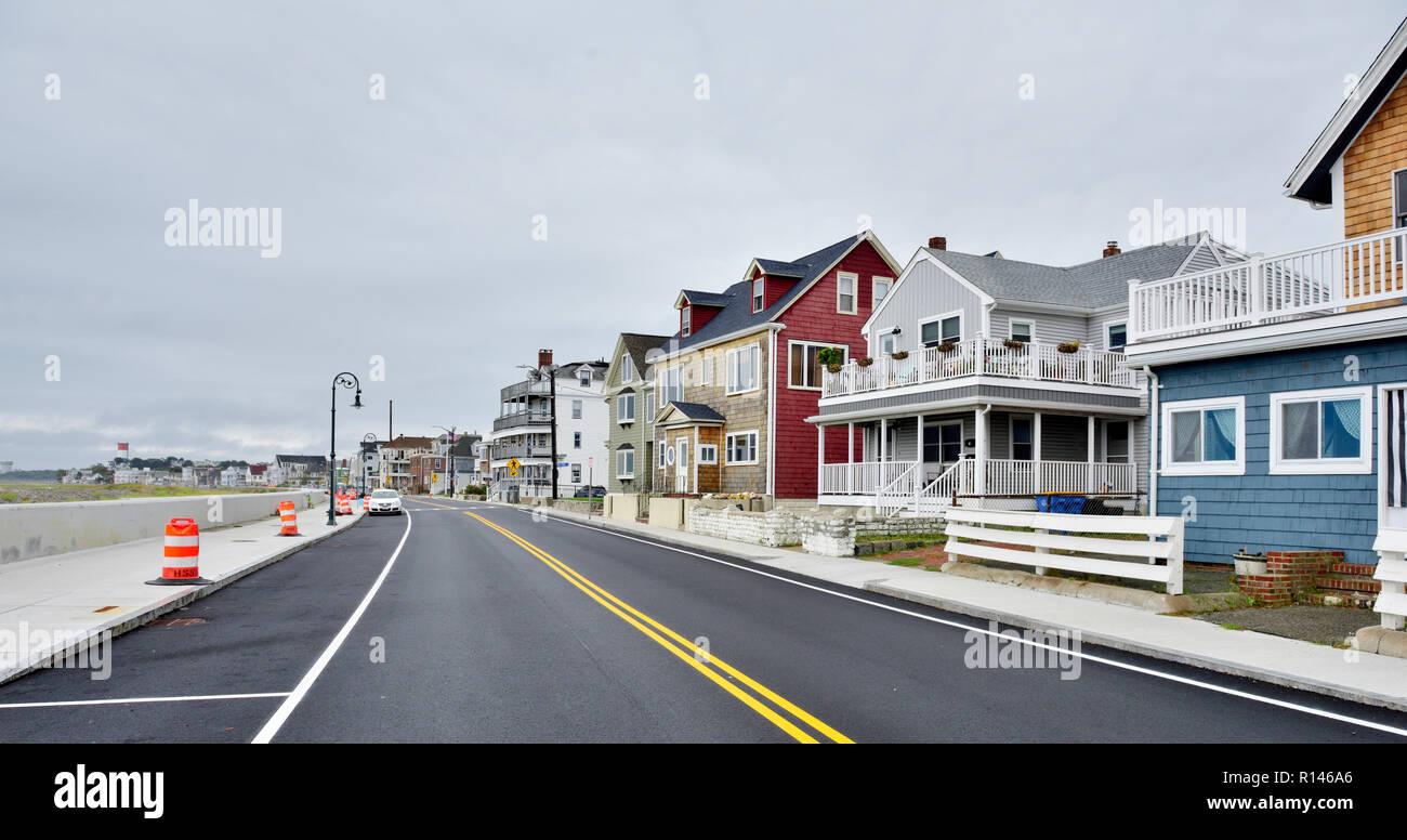 Houses, summer vacation lettings, along Revere Beach suburb of Boston, Massachusetts, USA - Stock Image