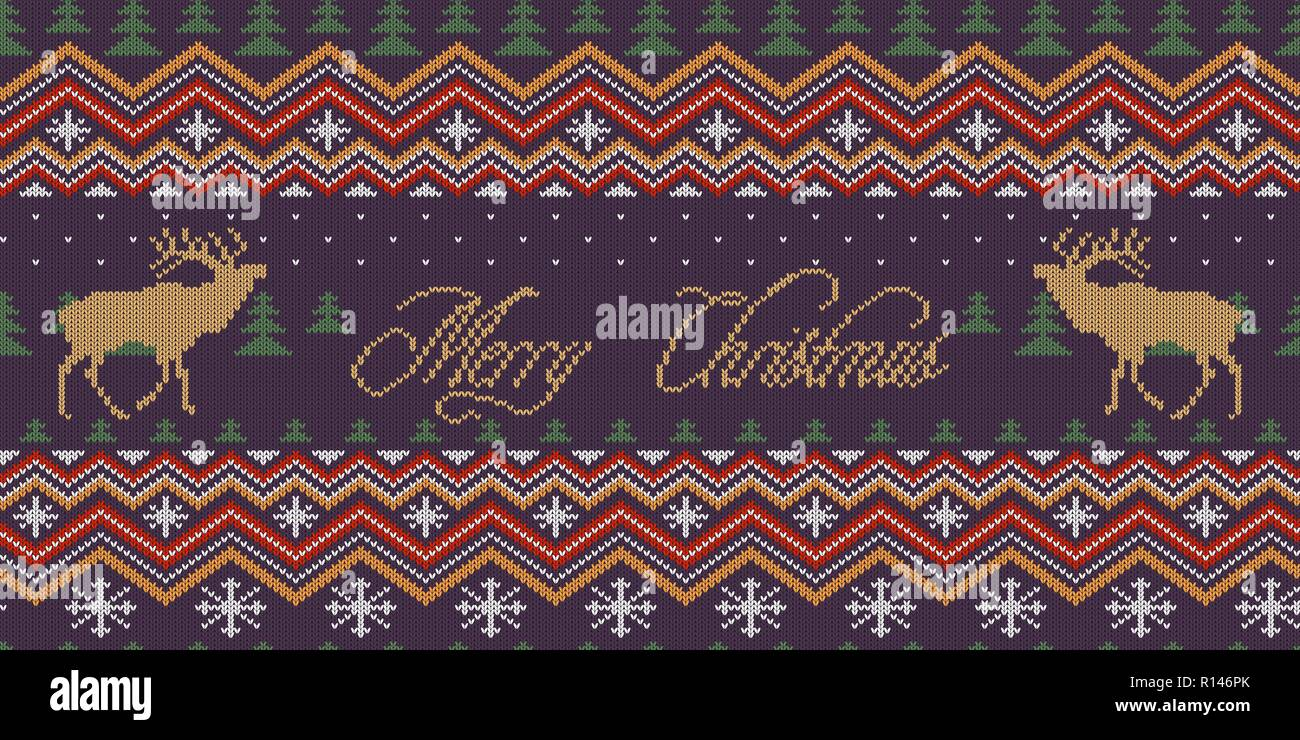 Merry Christmas. Winter knitted woolen seamless pattern with red deer in night spruce forest - Stock Vector